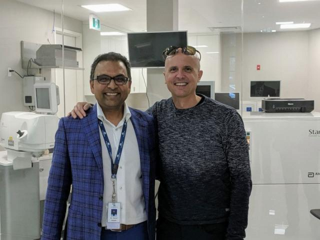 "Dr. Lane congratulates Dr. Murari Patodia at the grand opening of ""Patodia Eye Institute"" in Sarnia, ON."